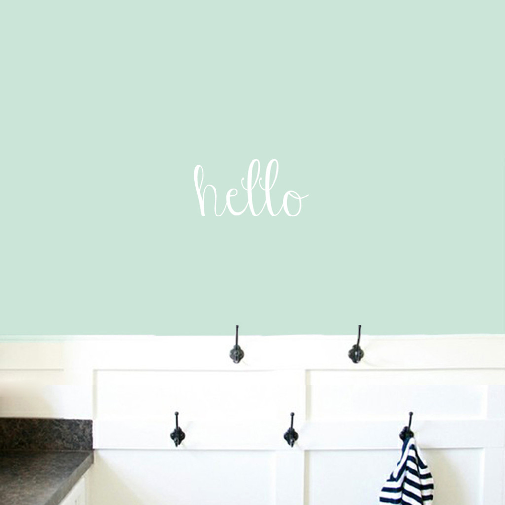 "Hello Wall Decals 12"" wide x 6"" tall Sample Image"