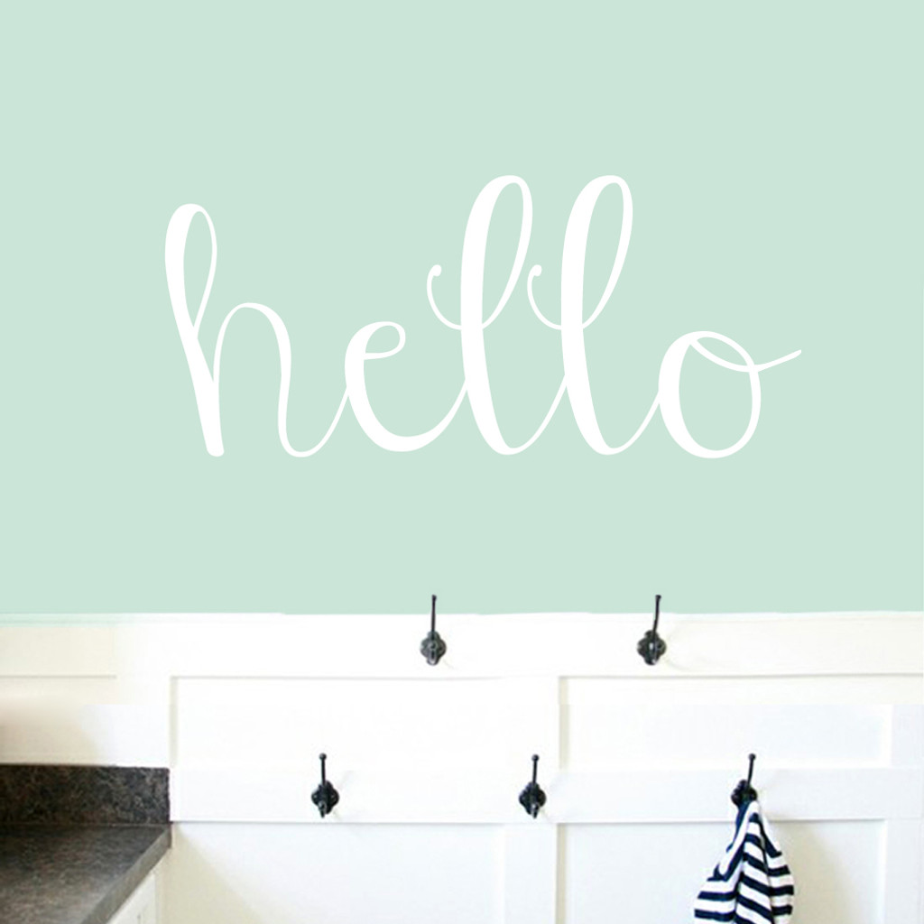 "Hello Wall Decals 36"" wide x 16"" tall Sample Image"