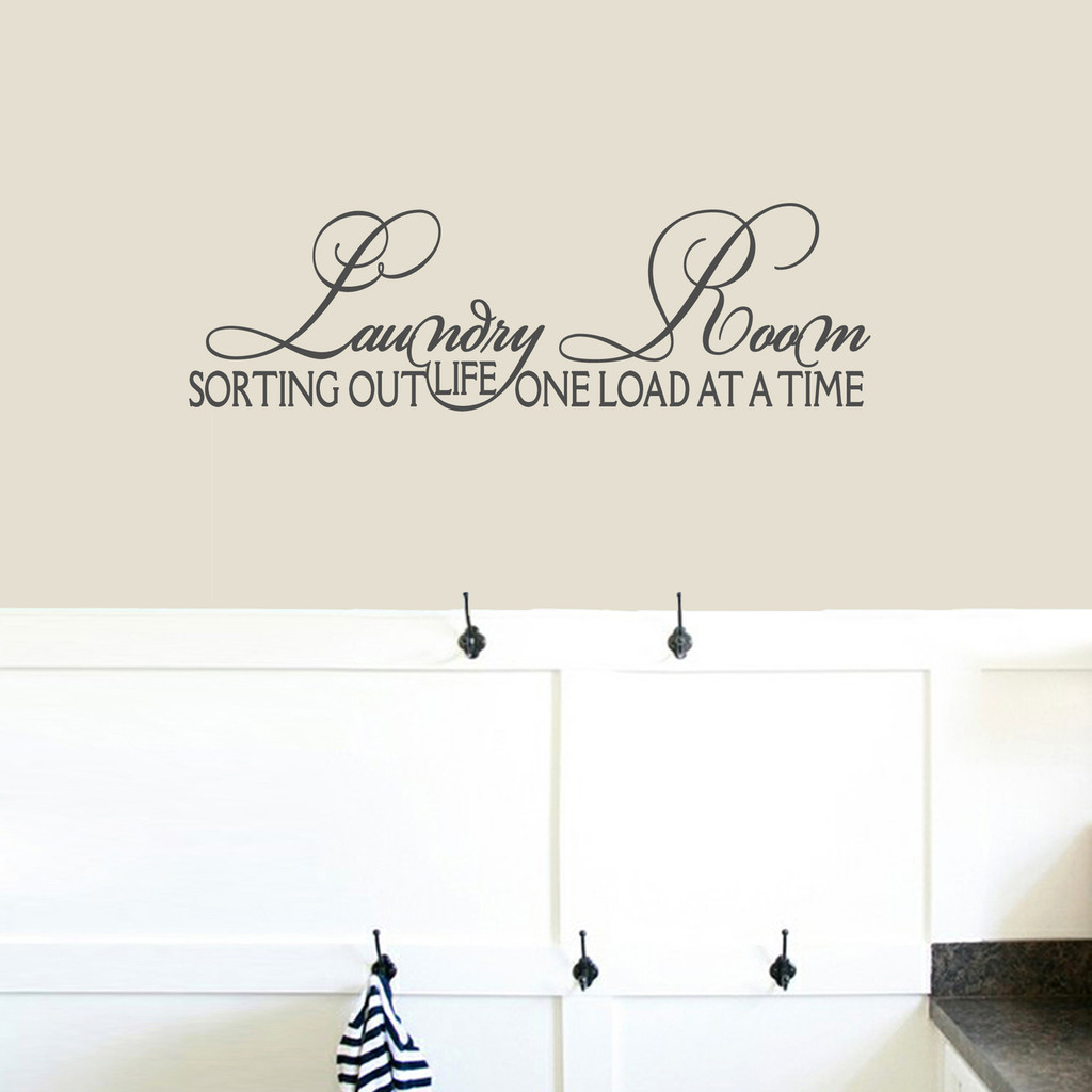 """Laundry Room Sorting Out Life Wall Decals 36"""" wide x 11"""" tall Sample Image"""