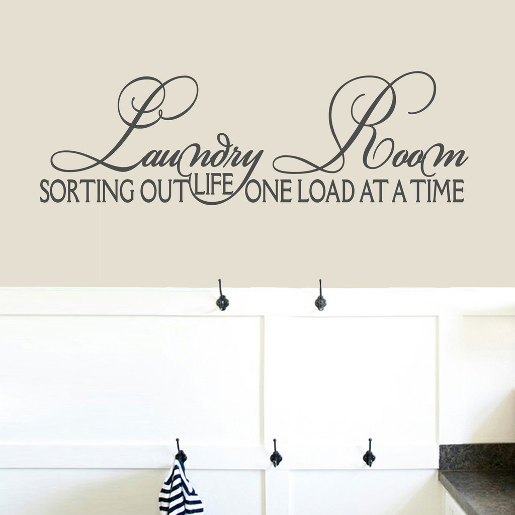 """Laundry Room Sorting Out Life Wall Decals 48"""" wide x 15"""" tall Sample Image"""