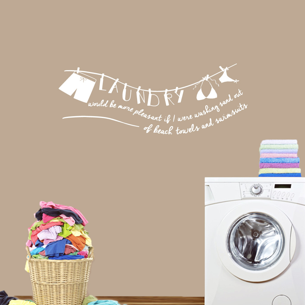"Laundry Sand Out Of Swimsuits Wall Decals 48"" wide x 18"" tall Sample Image"
