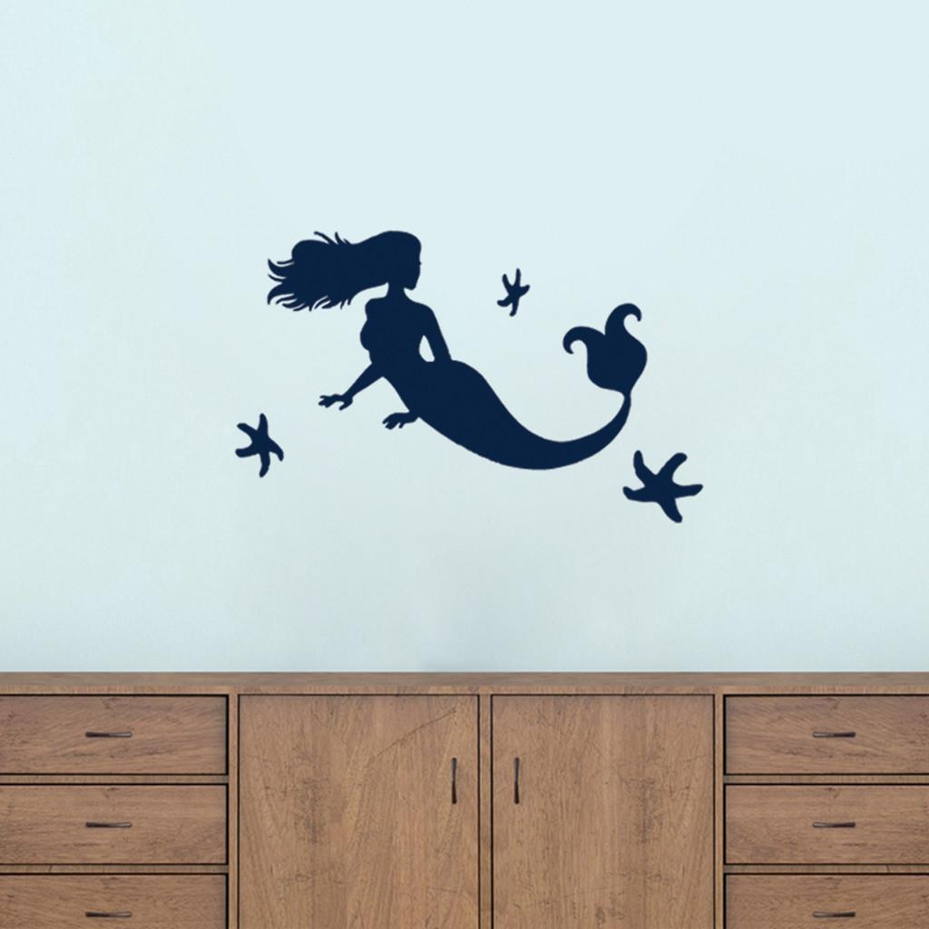 Mermaid and Starfish Wall Decals Small Sample Image