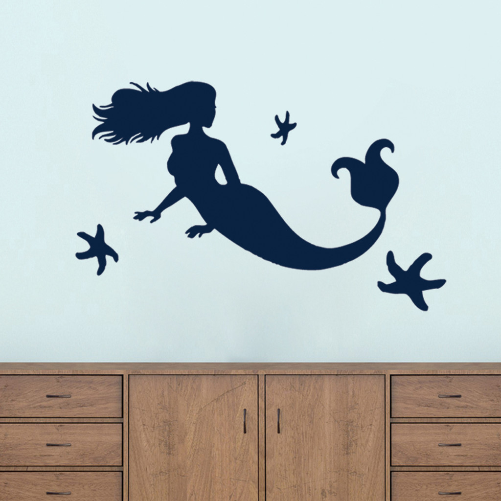 Mermaid and Starfish Wall Decals Large Sample Image