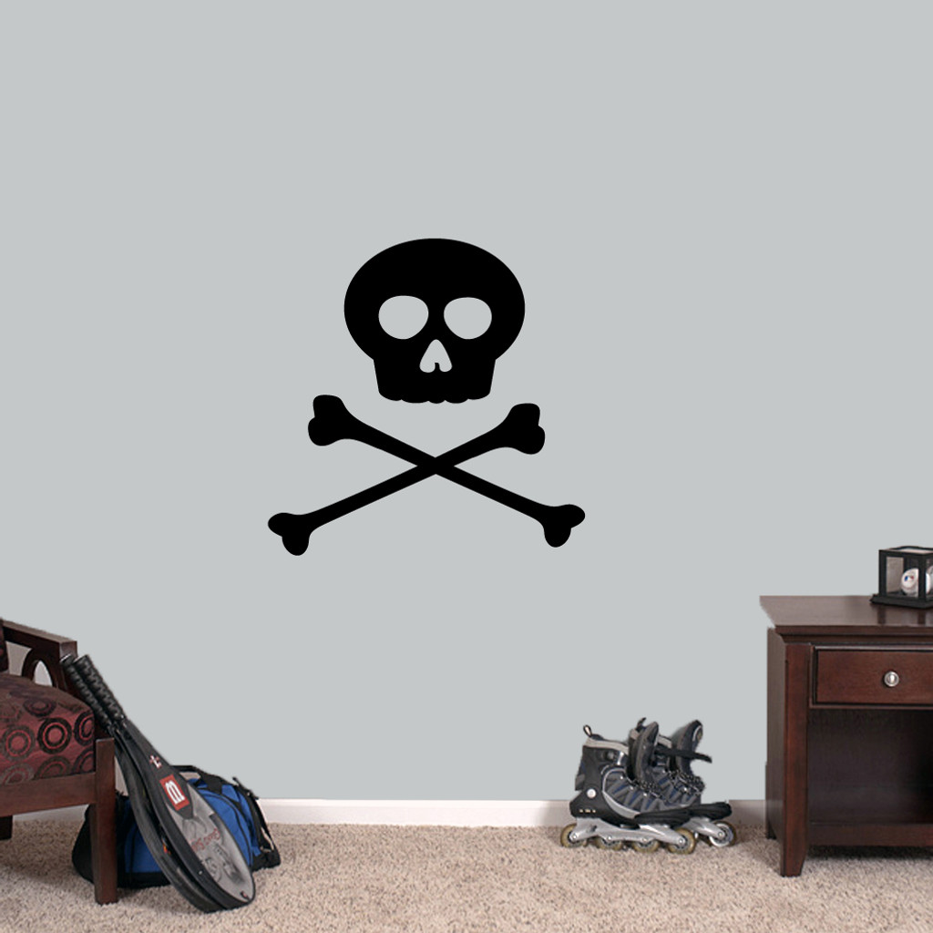 "Skull and Crossbones Wall Decals 24"" wide x 24"" tall Sample Image"