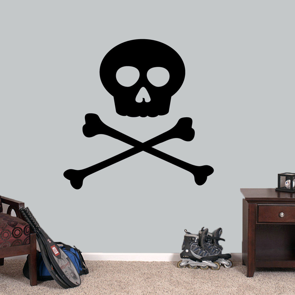 "Skull and Crossbones Wall Decals 36"" wide x 36"" tall Sample Image"