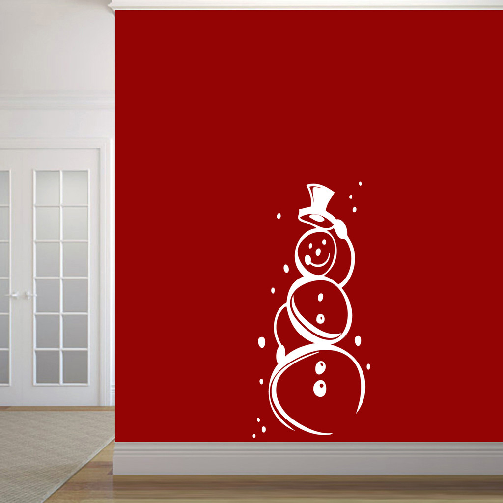 """Cute Snowman Wall Decal 22"""" wide x 48"""" tall Sample Image"""