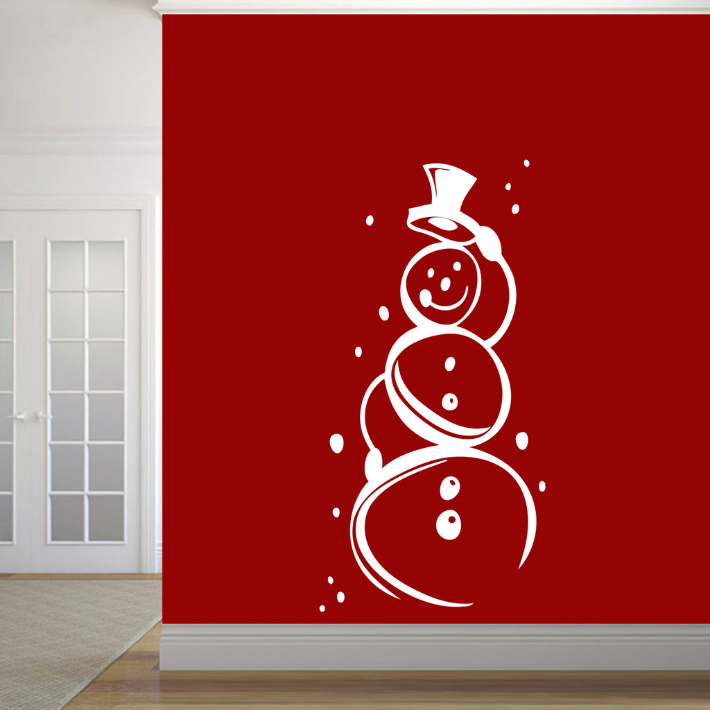 """Cute Snowman Wall Decal 30"""" wide x 60"""" tall Sample Image"""