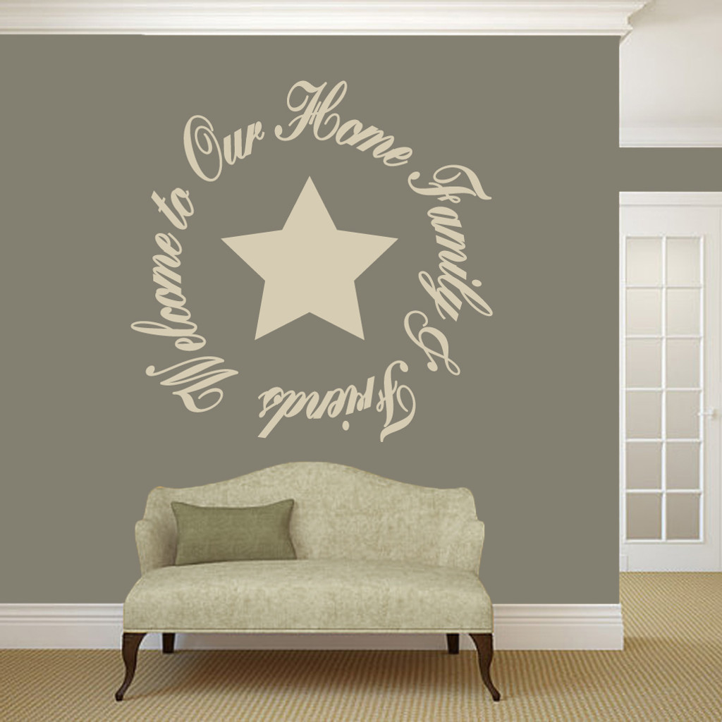 Welcome to our home entryway wall decals and stickers welcome to our home family friends wall decals 48 wide x 48 tall amipublicfo Gallery