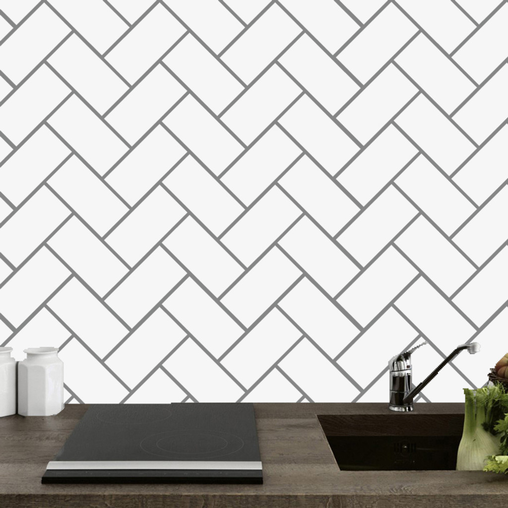 herringbone tile wall decals and stickers
