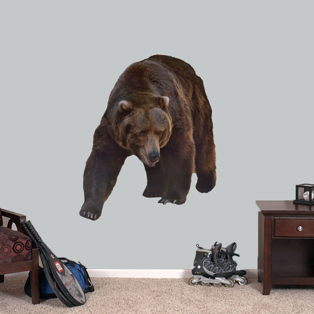 "Real Life Grizzly Bear Printed Wall Decals 38"" wide x 46"" tall Sample Image"
