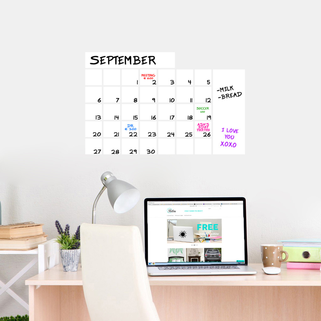 "Dry Erase Calendar Wide Wall Decals 24"" wide  x 16"" tall Sample Image"