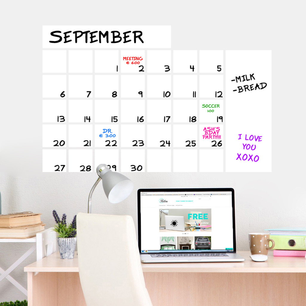 "Dry Erase Calendar Wide Wall Decals 36"" wide  x 23"" tall Sample Image"