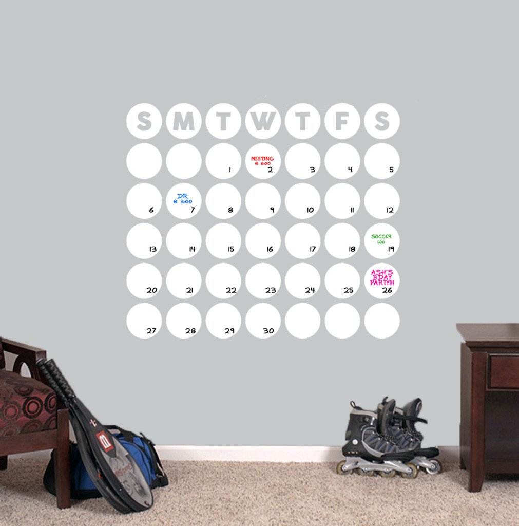 """Dry Erase Circle Calendar Wall Decals 30"""" wide x 25.5"""" tall Sample Image"""