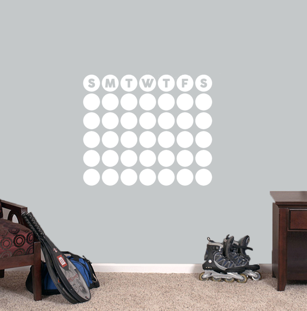 """Dry Erase Circle Calendar Wall Decals 24"""" wide x 20.5"""" tall Sample Image"""