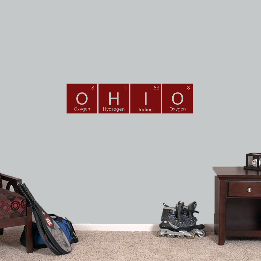 "Ohio Periodic Table - Wall Decal Wall Stickers 36"" wide x 8.5"" tall Sample Image"