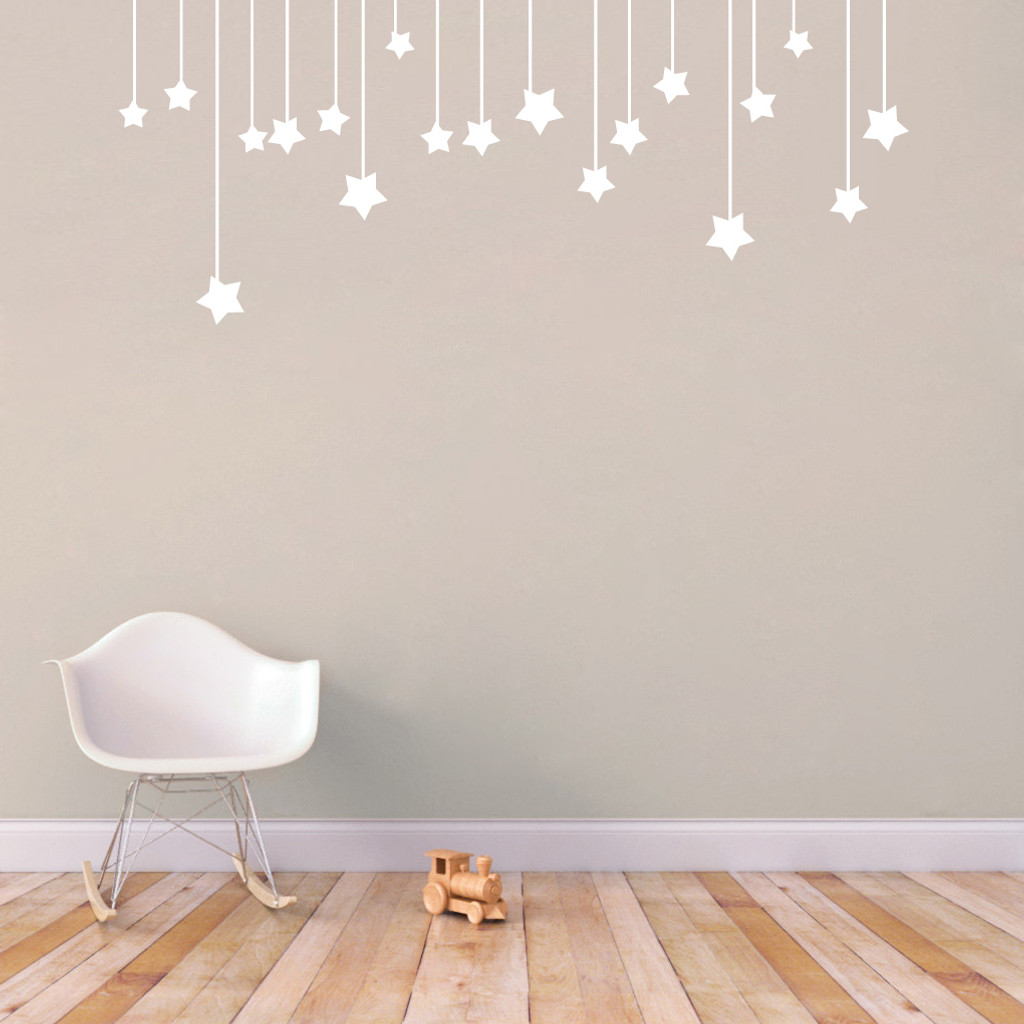 "Hanging Stars Wall Decals 60"" wide x 25"" tall Sample Image"
