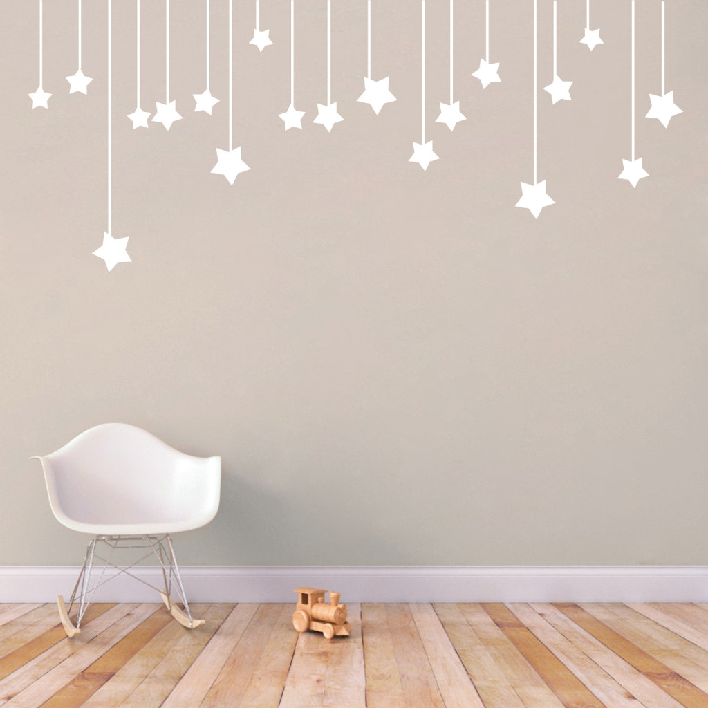 "Hanging Stars Wall Decals 72"" wide x 30"" tall Sample Image"