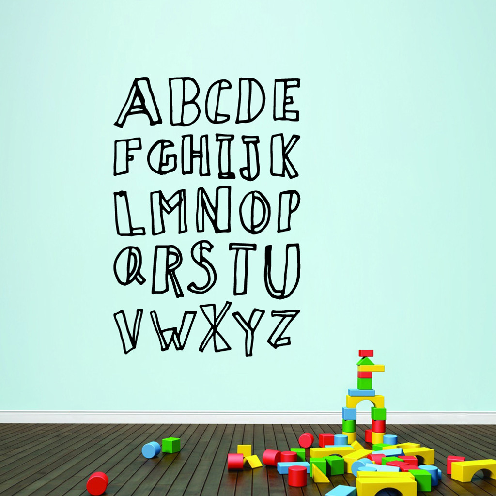 """Alphabet Doodle Wall Decals 40"""" wide x 60"""" tall Sample Image"""