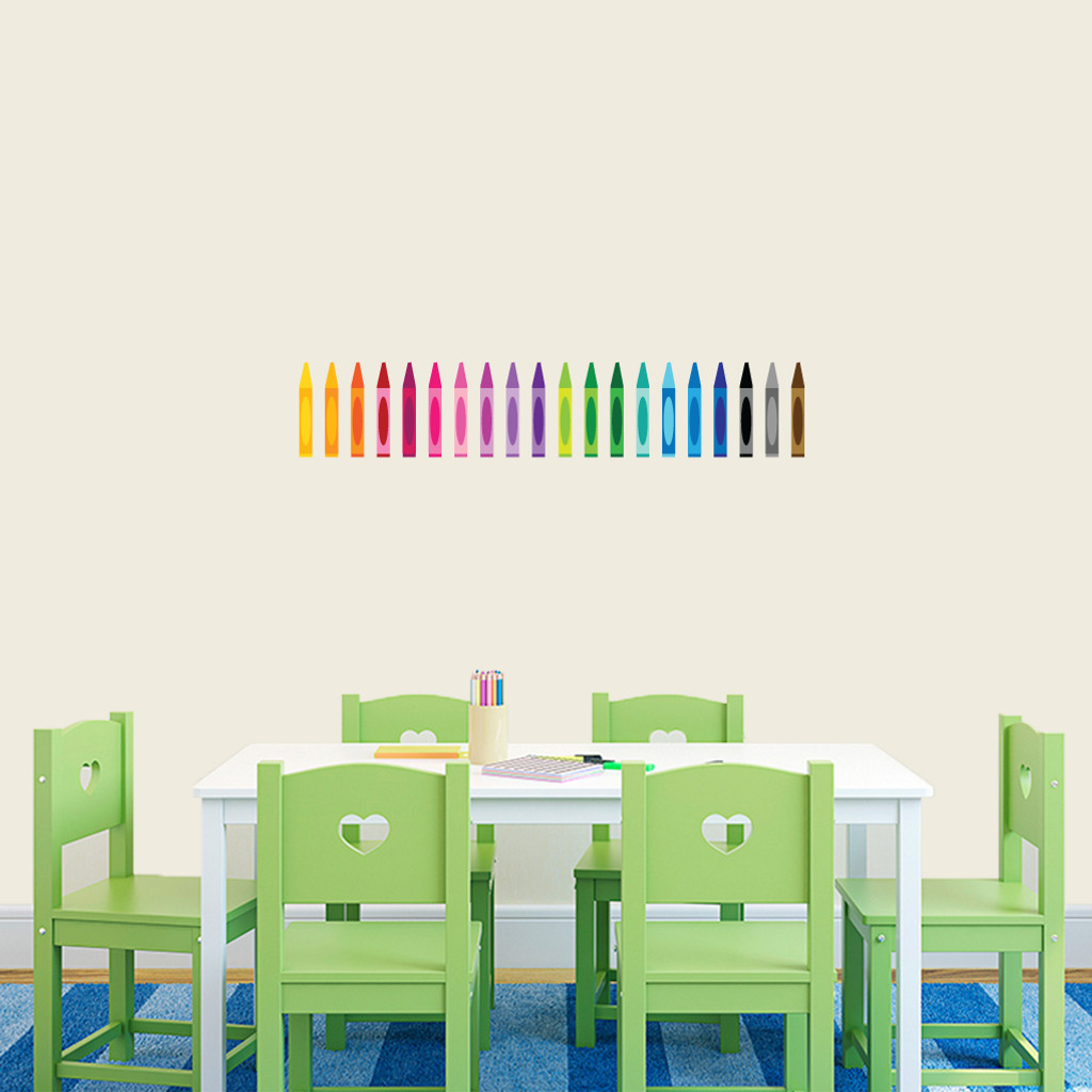 """Crayons Printed Wall Decals 32"""" wide x 6"""" tall Sample Image"""