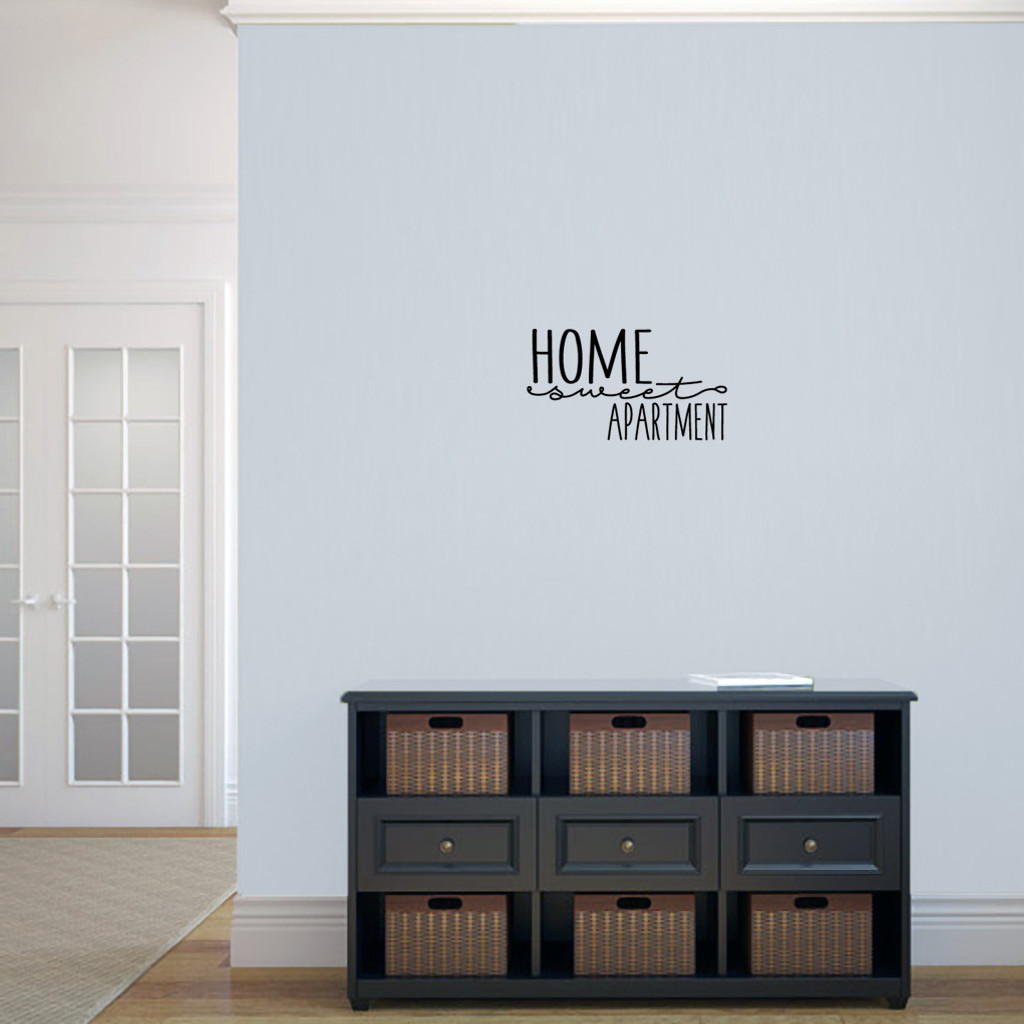"Home Sweet Apartment Wall Decal 18"" wide x 10"" tall Sample Image"