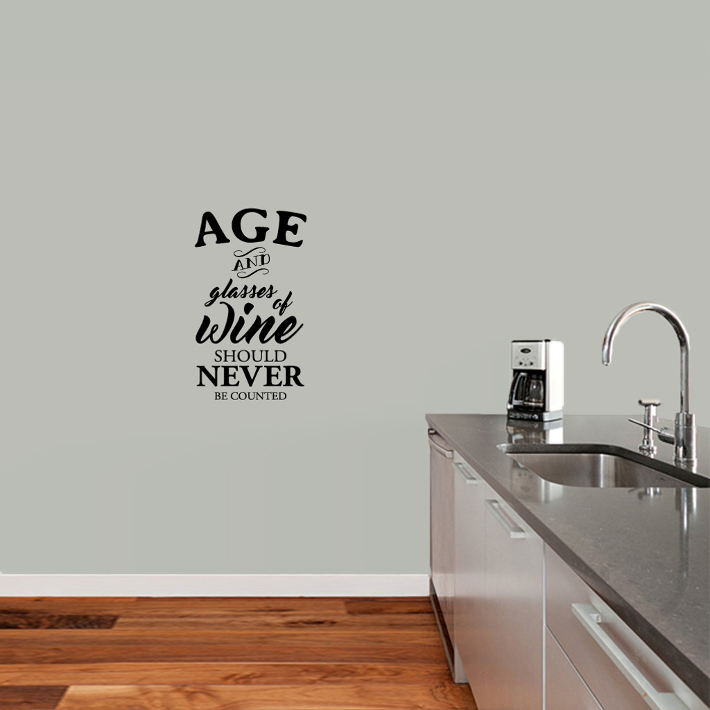 "Age And Glasses Of Wine Wall Decal 14"" wide x 24"" tall Sample Image"