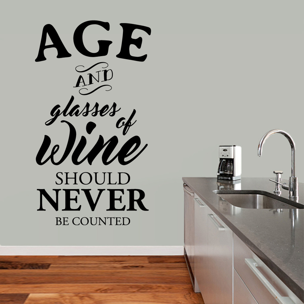 "Age And Glasses Of Wine Wall Decal 34"" wide x 60"" tall Sample Image"