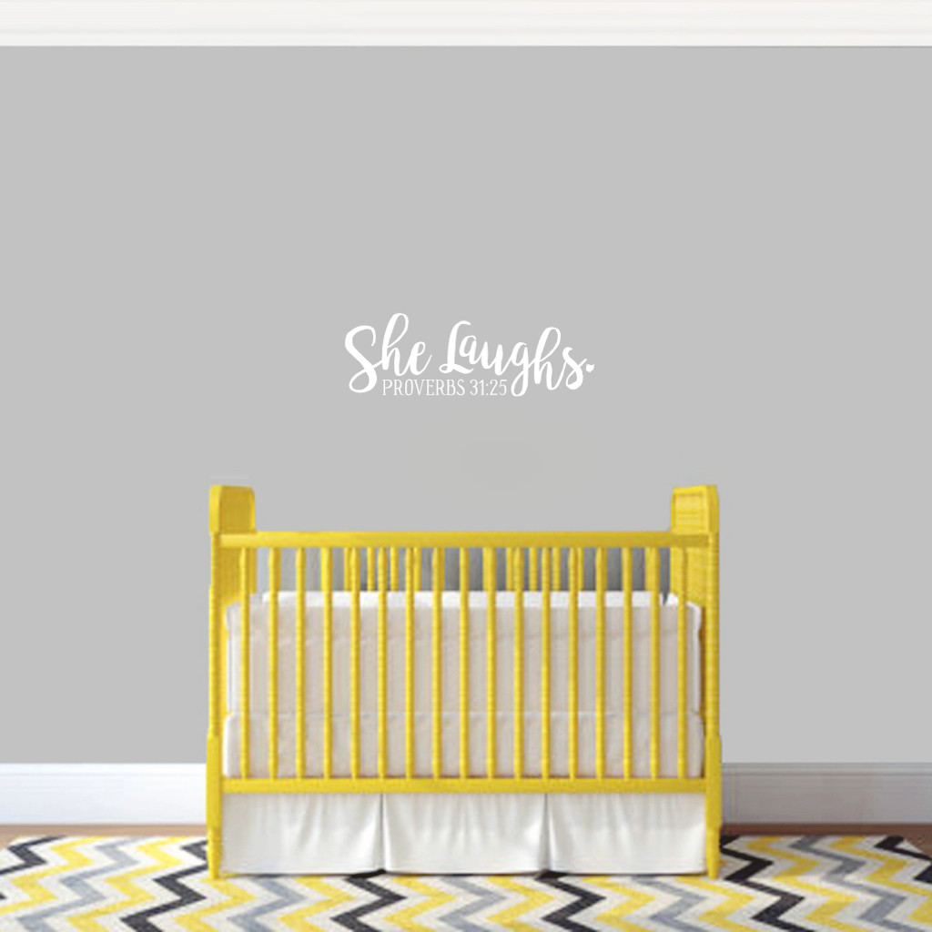 """She Laughs Ohio Wall Decal 18"""" wide x 6"""" tall Sample Image"""
