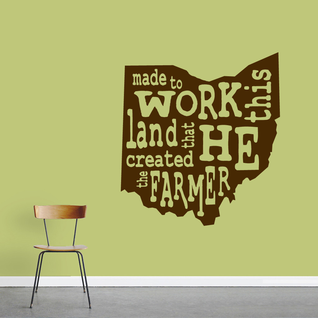 "The Farmer Ohio Wall Decal 33"" wide x 36"" tall Sample Image"