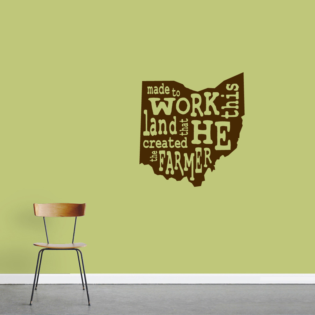 "The Farmer Ohio Wall Decal 22"" wide x 24"" tall Sample Image"
