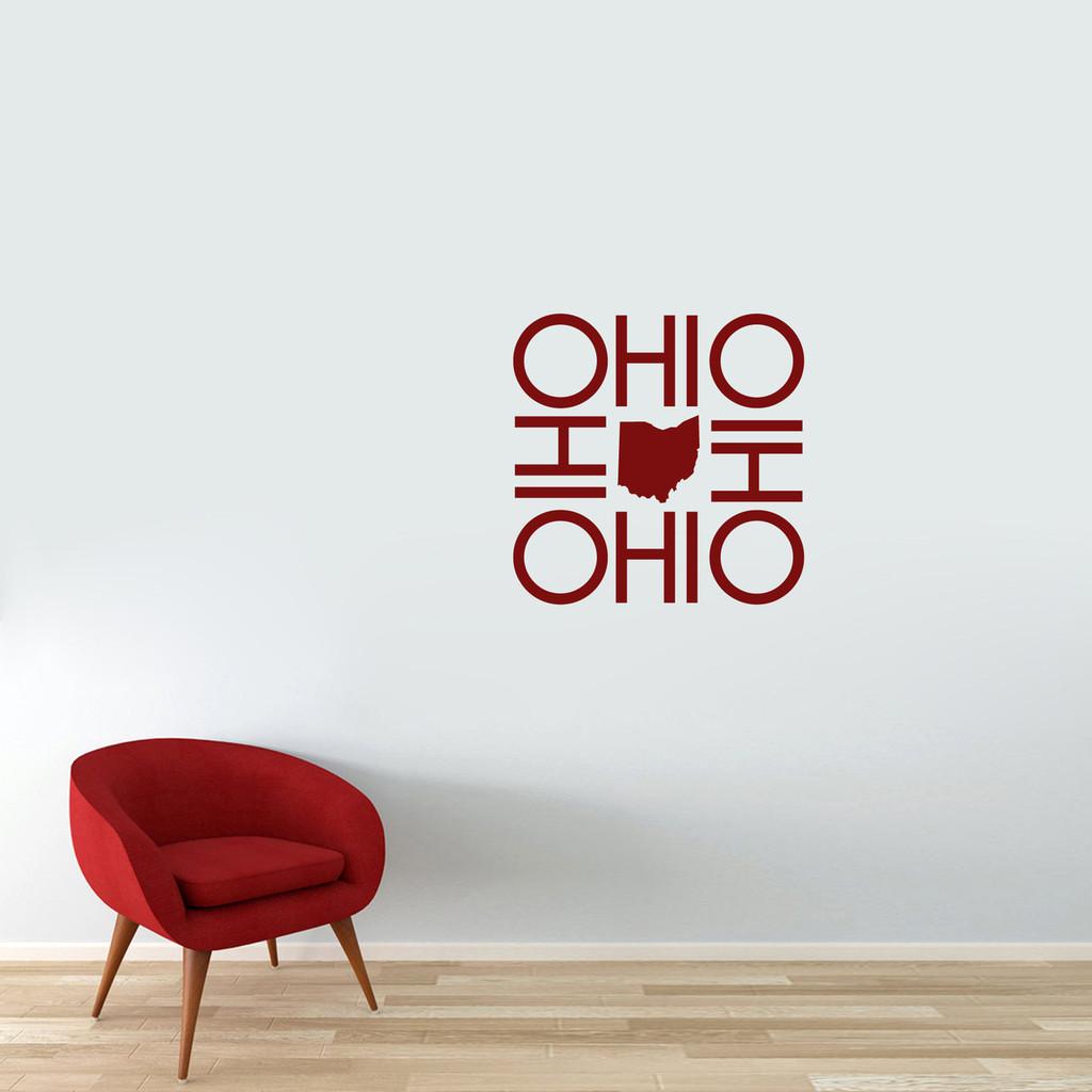 """OHIO OHIO OHIO OHIO Wall Decal 22"""" wide x 22"""" tall Sample Image"""