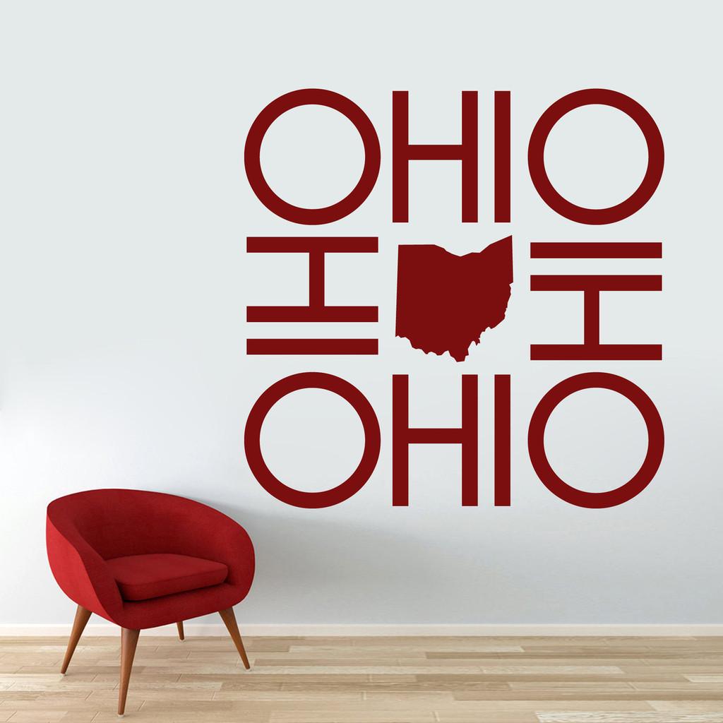 """OHIO OHIO OHIO OHIO Wall Decal 48"""" wide x 48"""" tall Sample Image"""