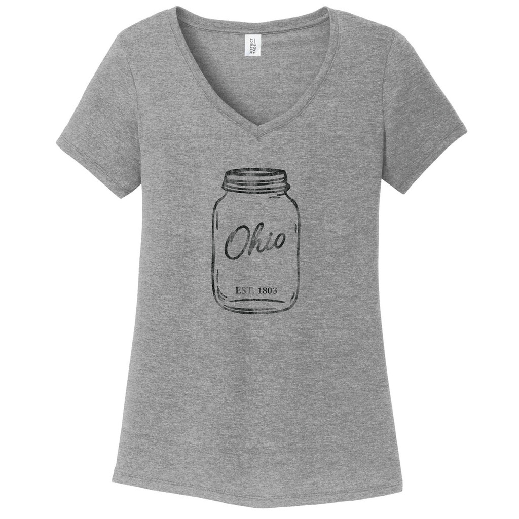 Grey Frost Mason Jar Women's Fitted V-Neck T-Shirt