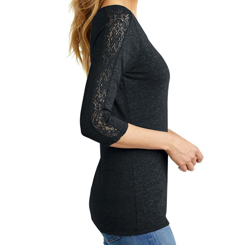 Charcoal Heather She Laughs Women's 3/4 Length Lace Sleeve T-Shirt Lace Arm Detail