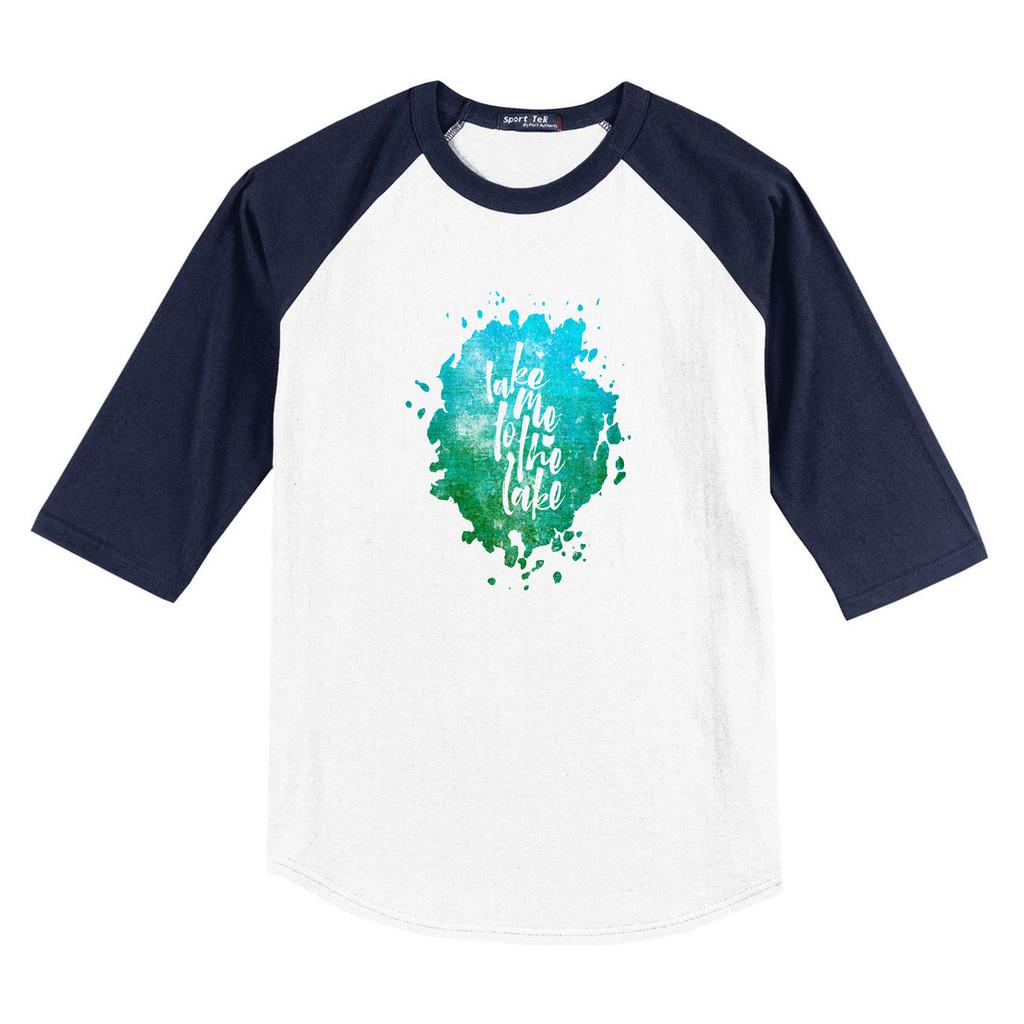White/ Navy Blue Take Me To The Lake 3/4 Length Sleeve Raglan T-Shirt