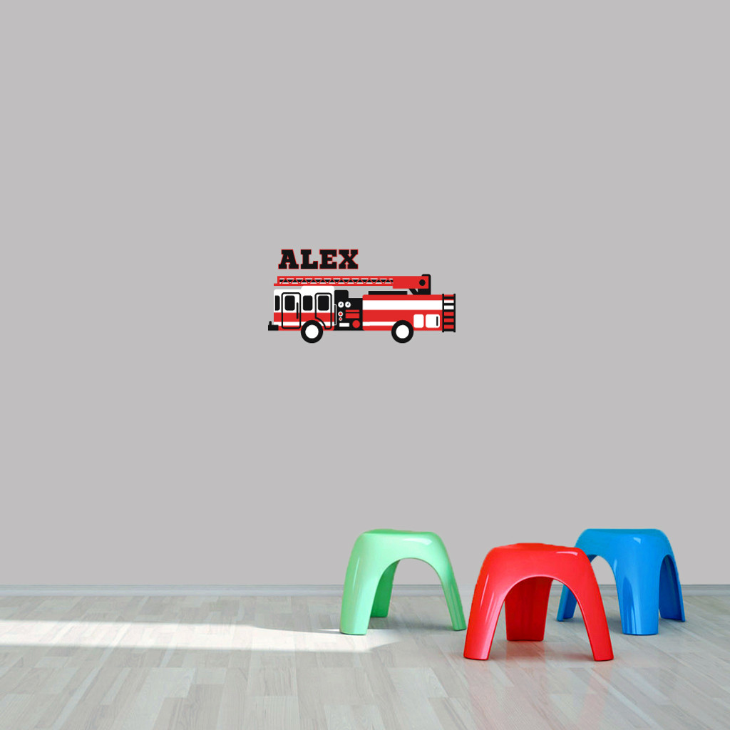 """Custom Name Fire Truck Printed Wall Decal  24"""" wide x 12"""" tall Sample Image"""