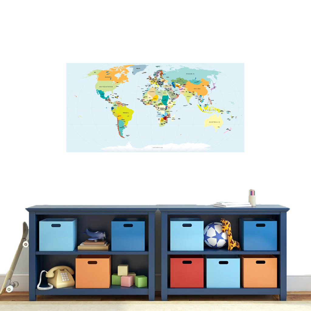 """World Map Atlas Printed Wall Decal 48"""" wide x 24"""" tall Sample Image"""