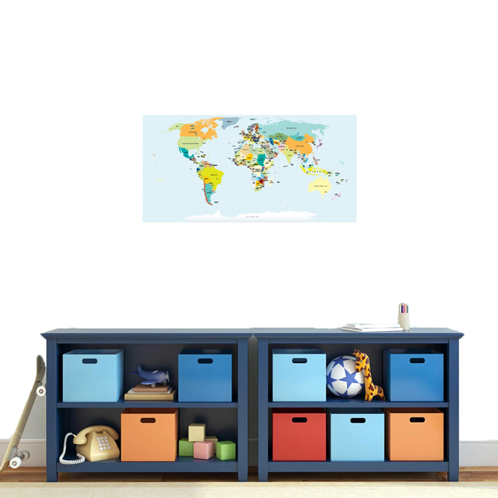 """World Map Atlas Printed Wall Decal 36"""" wide x 18"""" tall Sample Image"""