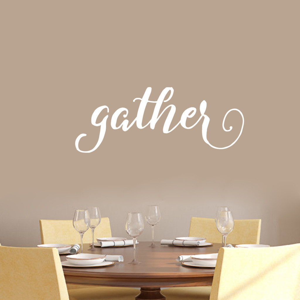 """Gather Wall Decal 36"""" wide x 14"""" tall Sample Image"""