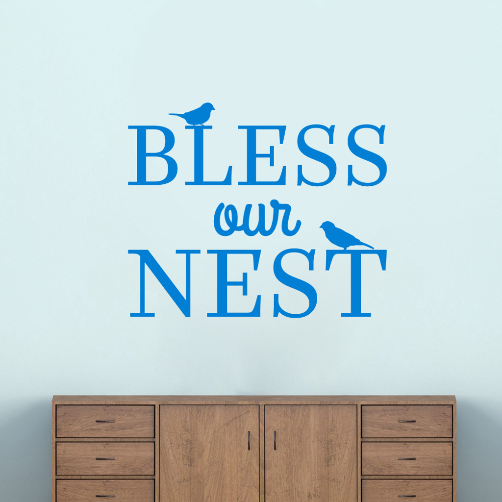 "Bless Our Nest Wall Decal 36"" wide x 30"" tall Sample Image"