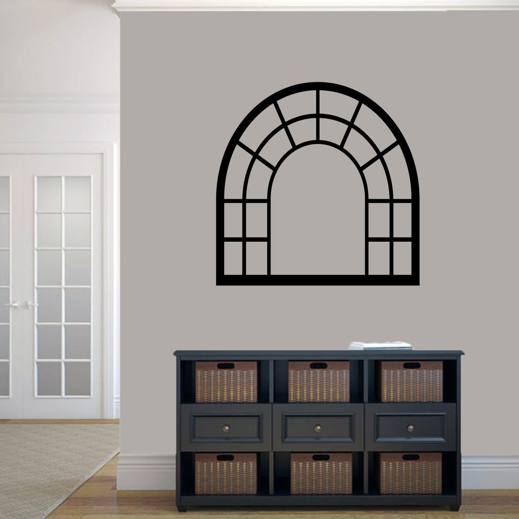 """Arched Window Frame Wall Decals 36"""" wide x 36"""" tall Sample Image"""