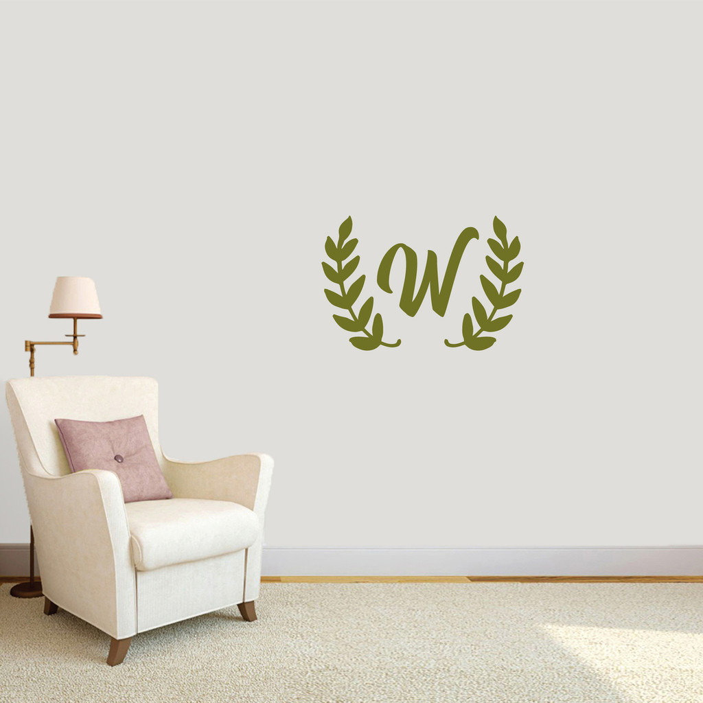 "Custom Olive Branch Wreath Monogram Wall Decal 24"" wide x 16"" tall Sample Image"