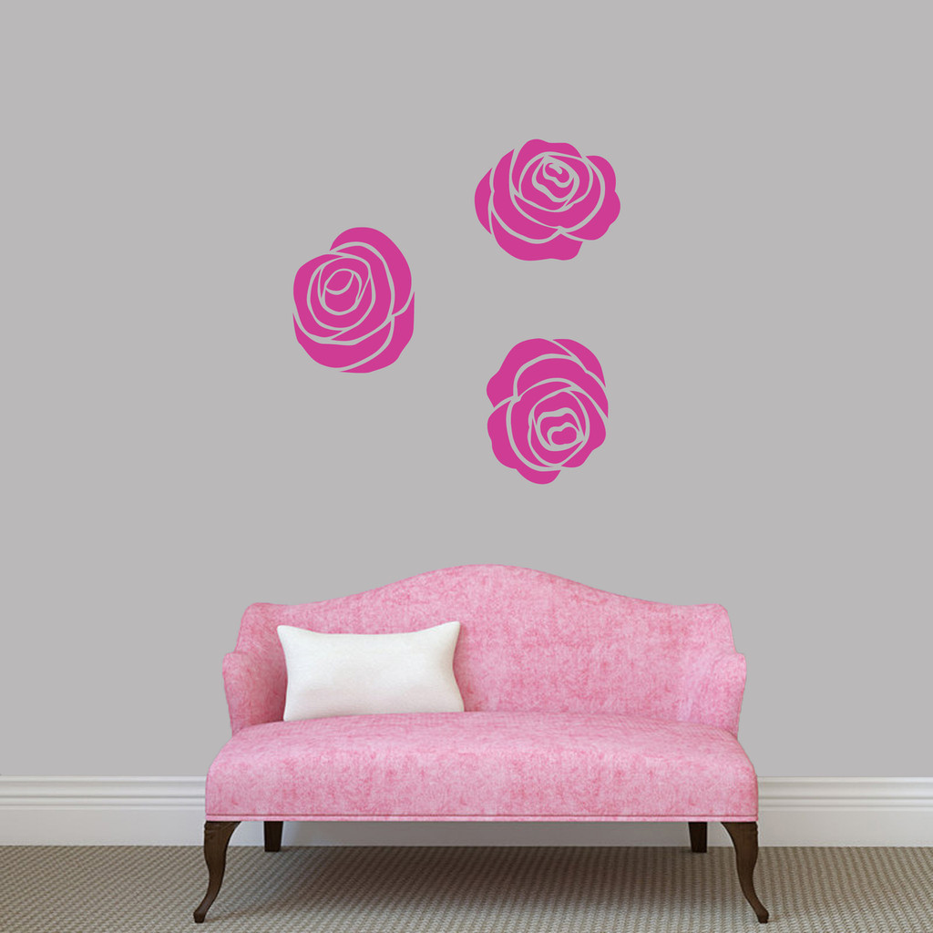 Set Of Roses Wall Decals Medium Sample Image