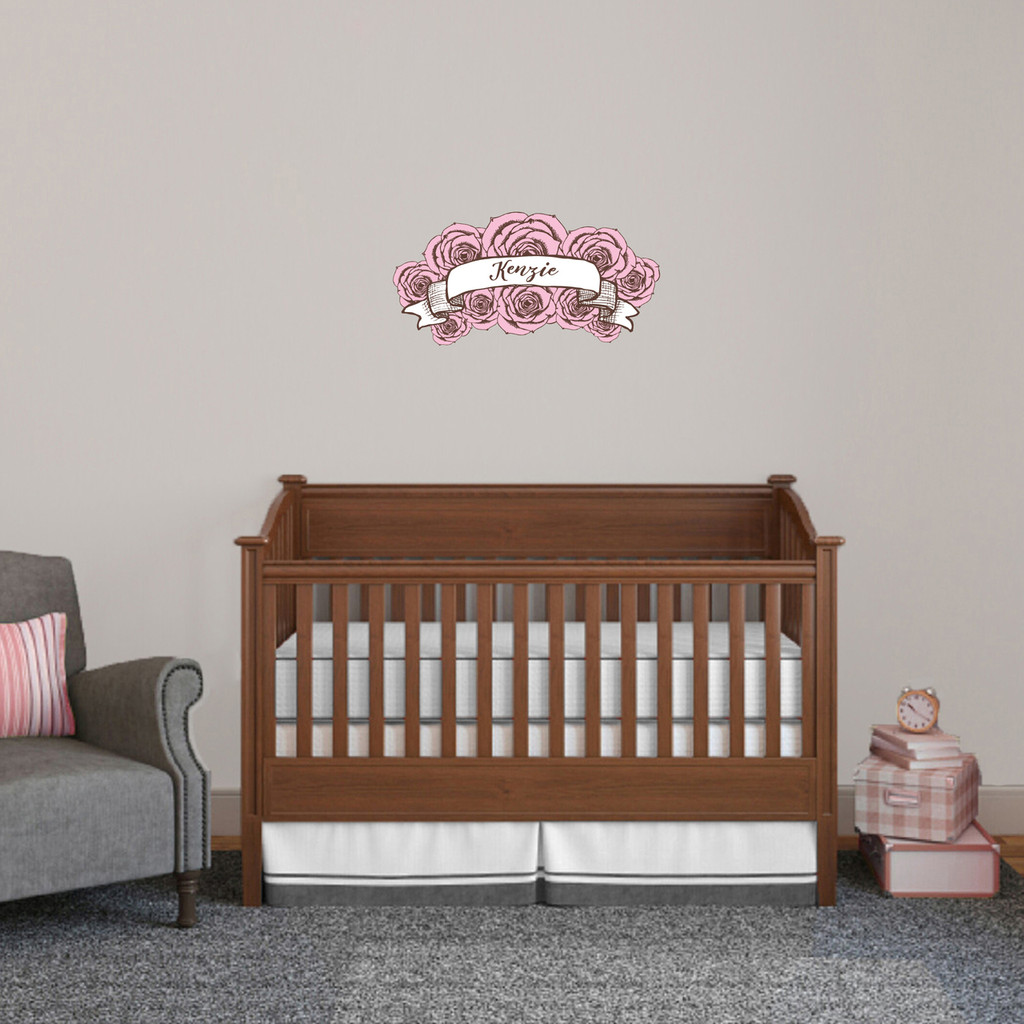 """Custom Name Pink Roses Printed Wall Decal 24"""" wide x 12"""" tall Sample Image"""