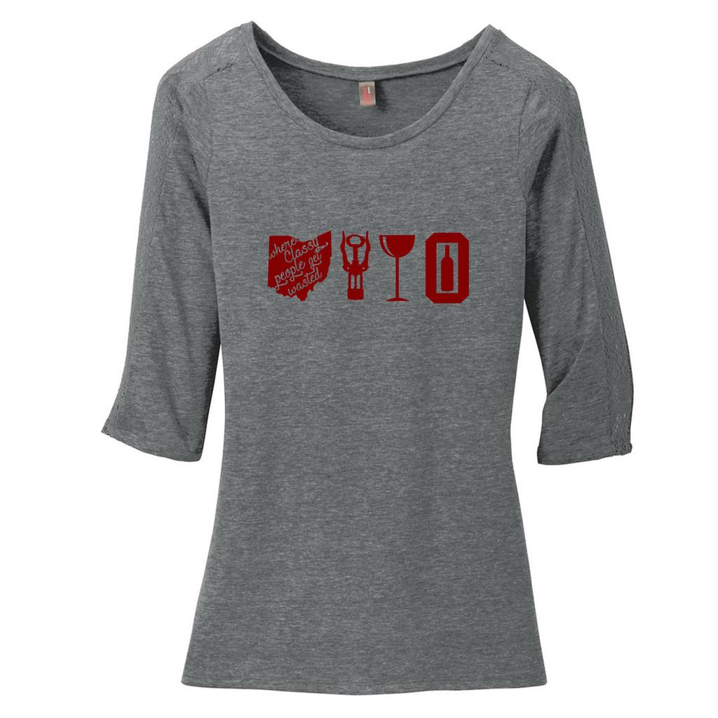 Grey Heather Wine Ohio Women's 3/4 Length Lace Sleeve T-Shirt