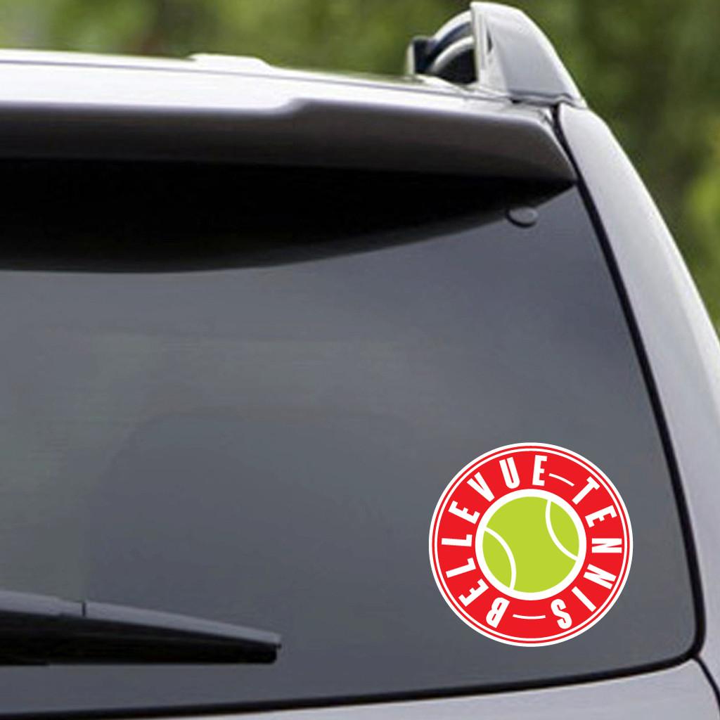 "Printed Bellevue Tennis Vehicle Decal 5"" wide x 5"" tall Sample Image"