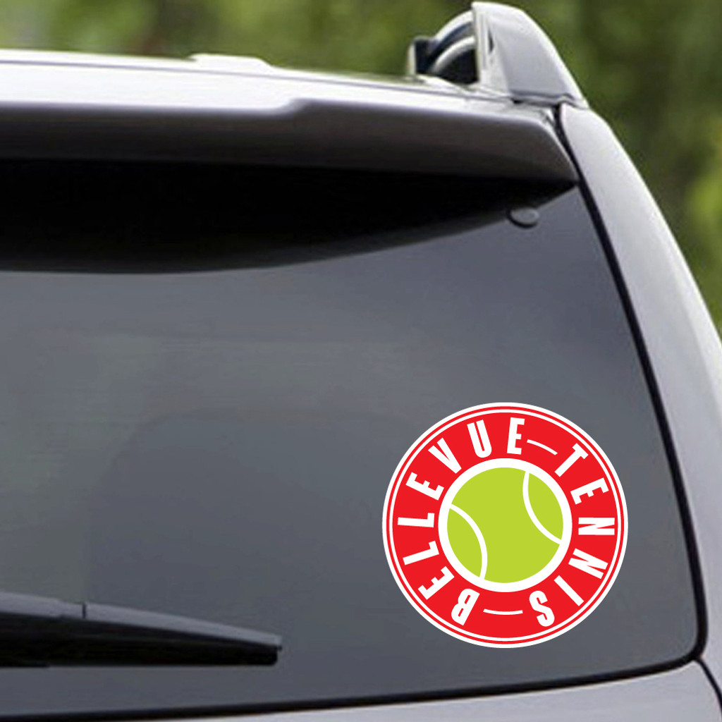 "Printed Bellevue Tennis Vehicle Decal 6"" wide x 6"" tall Sample Image"