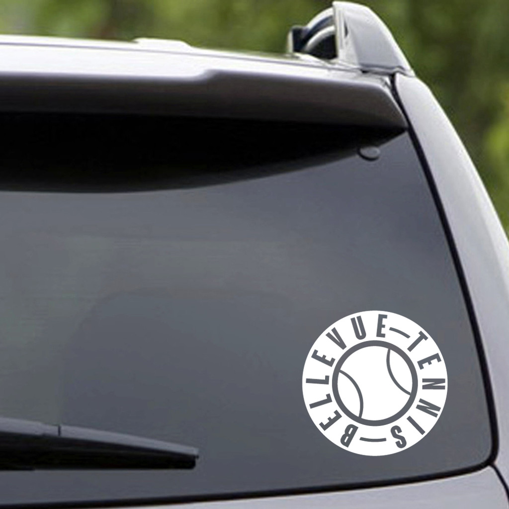 """White Bellevue Tennis Vehicle Decal 5"""" wide x 5"""" tall Sample Image"""