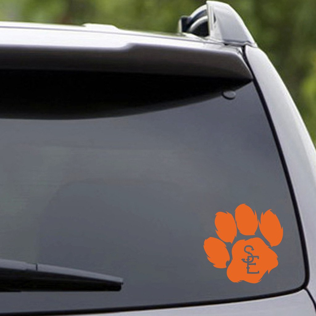 "Seneca East Paw Print Vehicle Decal 4"" wide x 4"" tall Sample Image"