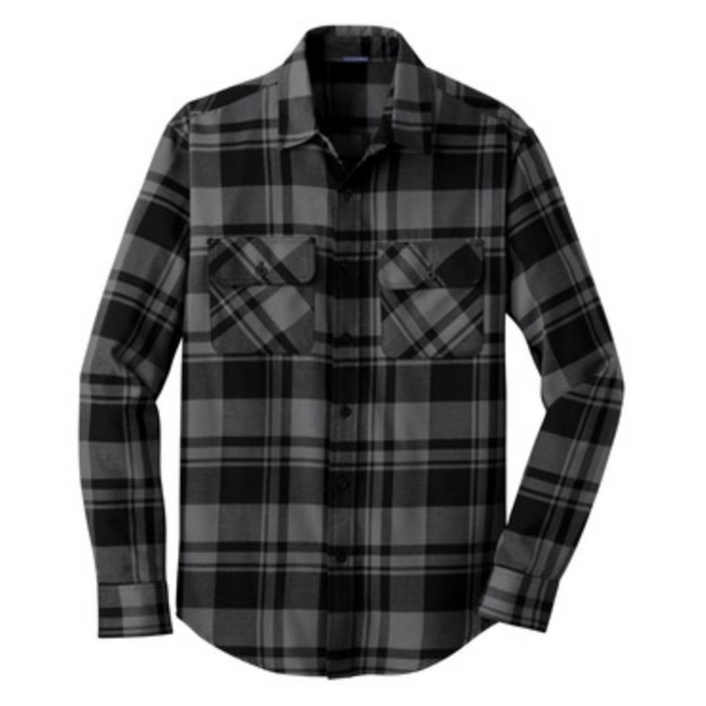 Grey / Black Homegrown Ohio Plaid Flannel Unisex Shirt Front