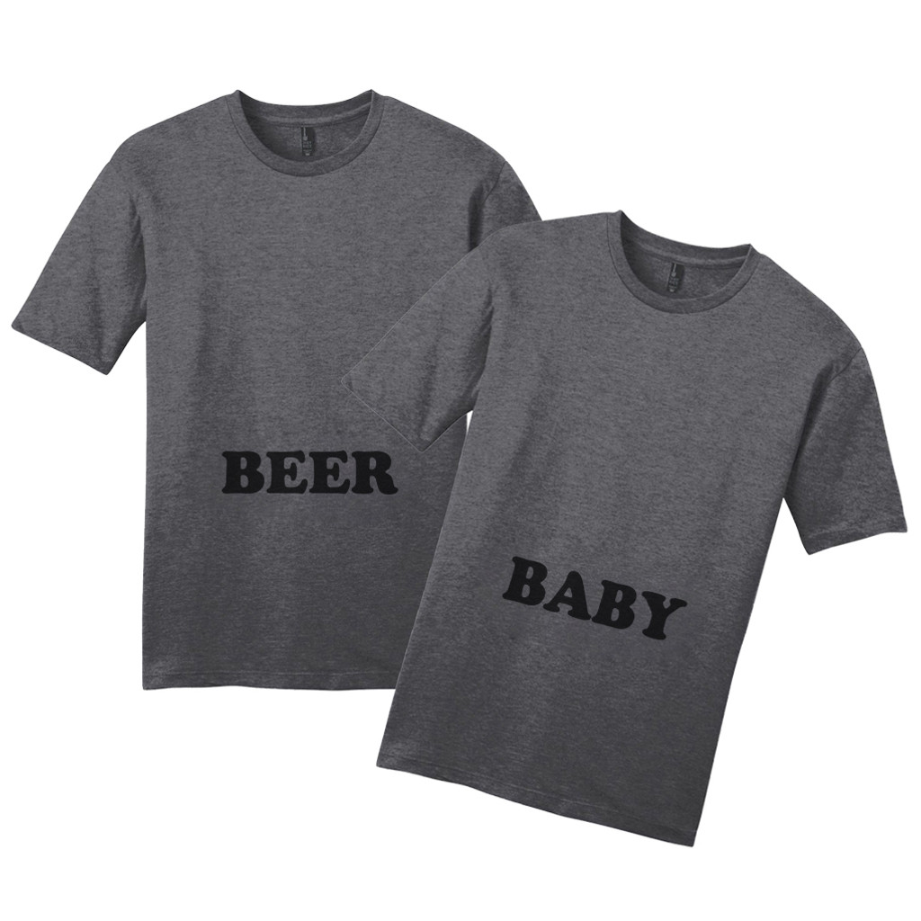 Heathered Charcoal Beer Belly & Baby Belly T-Shirt Set